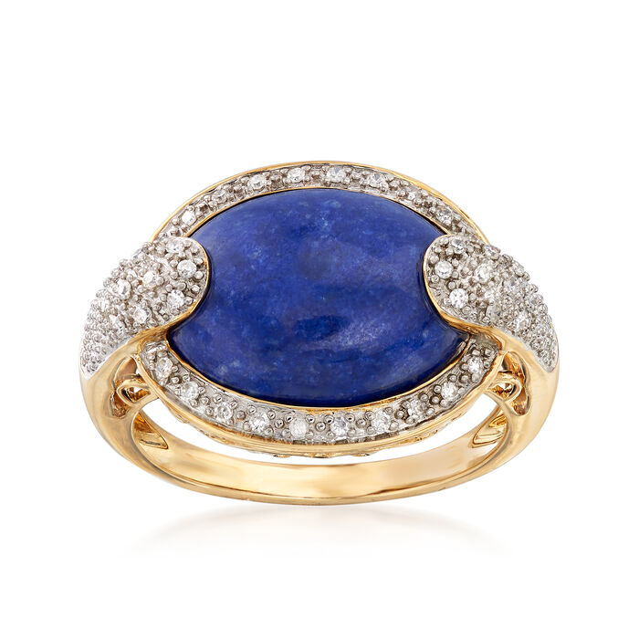 Lapis and .13 ct. t.w. Diamond Ring in 14kt Yellow Gold, , default