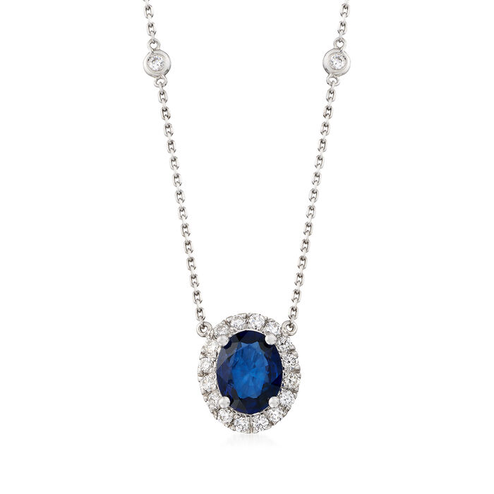 """3.00 Carat Sapphire and .70 ct. t.w. Diamond Station Necklace in 14kt White Gold. 16"""", , default"""