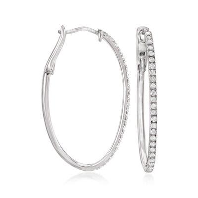 .50 ct. t.w. Diamond Oval Hoop Earrings in Sterling Silver, , default