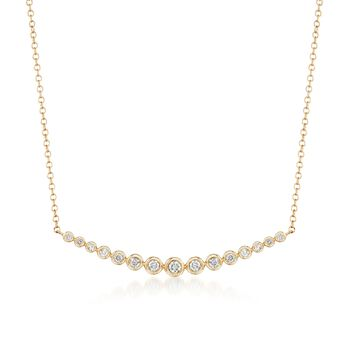 ".33 ct. t.w. Bezel-Set Diamond Curved Bar Necklace in 14kt Yellow Gold. 16"", , default"
