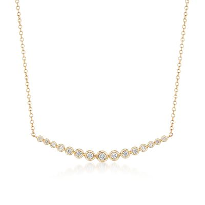 .33 ct. t.w. Bezel-Set Diamond Curved Bar Necklace in 14kt Yellow Gold, , default