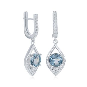3.59 ct. t.w. Blue and White Topaz Marquise Drop Earrings in Sterling Silver, , default