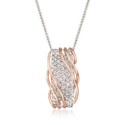 "Simon G. 1.10 ct. t.w. Diamond Twist Necklace in 18kt Two-Tone Gold. 17"", , default"