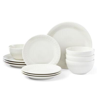 "Kate Spade New York ""Willow Drive"" Cream Ceramic 12-pc. Dinnerware Set, , default"