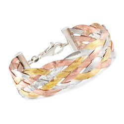 Italian Tri-Colored Sterling Silver Braided Herringbone Bracelet, , default