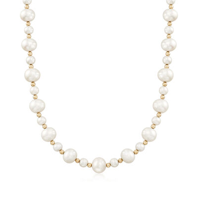 5-9mm Cultured Pearl Bead Necklace in 14kt Yellow Gold, , default