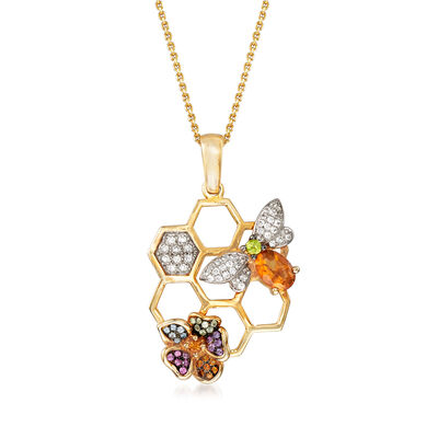 Mixed Gem Bee Pendant Necklace in 18kt Yellow Gold Over Sterling Silver, , default