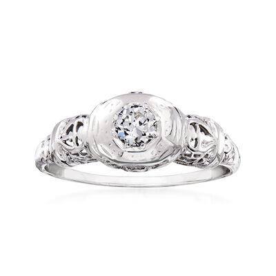 C. 1950 Vintage .25 Carat Diamond Ring in 18kt White Gold