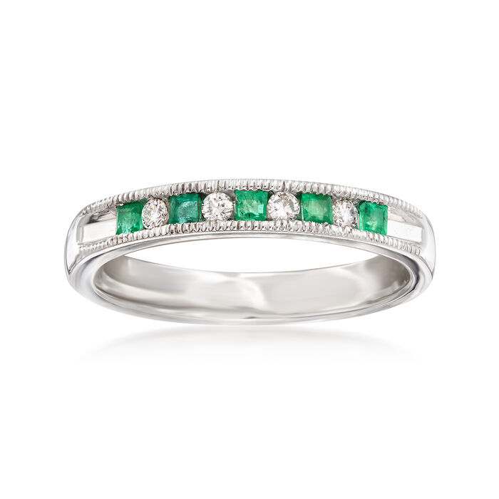 .20 ct. t.w. Emerald and .10 ct. t.w. Diamond Ring in 14kt White Gold, , default