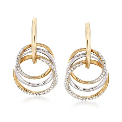 .31 ct. t.w. Diamond Triple-Circle Earrings in 14kt Two-Tone Gold, , default