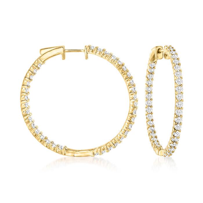 """3.00 ct. t.w. Diamond Inside-Outside Hoop Earrings in 18kt Gold Over Sterling. 1 3/8"""""""