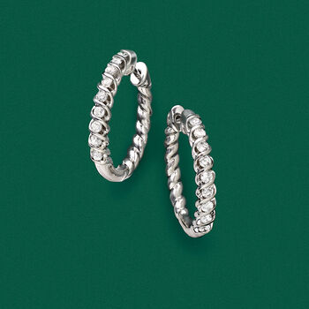 """.75 ct. t.w. Diamond Spiral Hoop Earrings in Sterling Silver. 3/4"""""""
