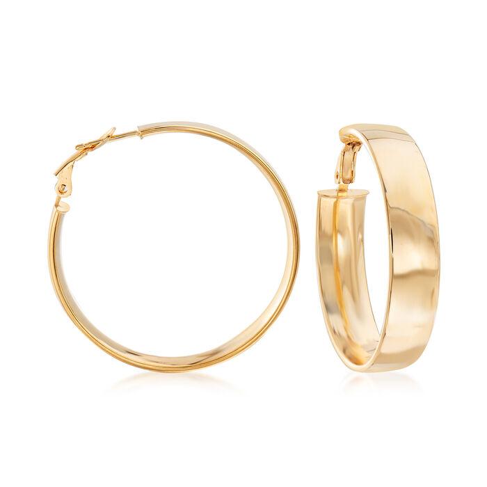 """Italian 18kt Yellow Gold Hoop Earrings. 1 3/8"""""""