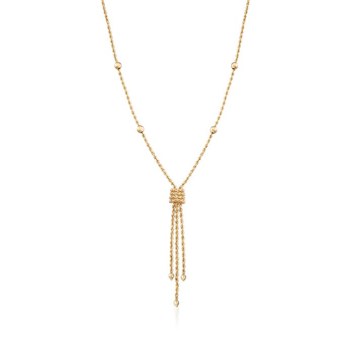 14kt Yellow Gold Rope Chain Tassel Necklace, , default