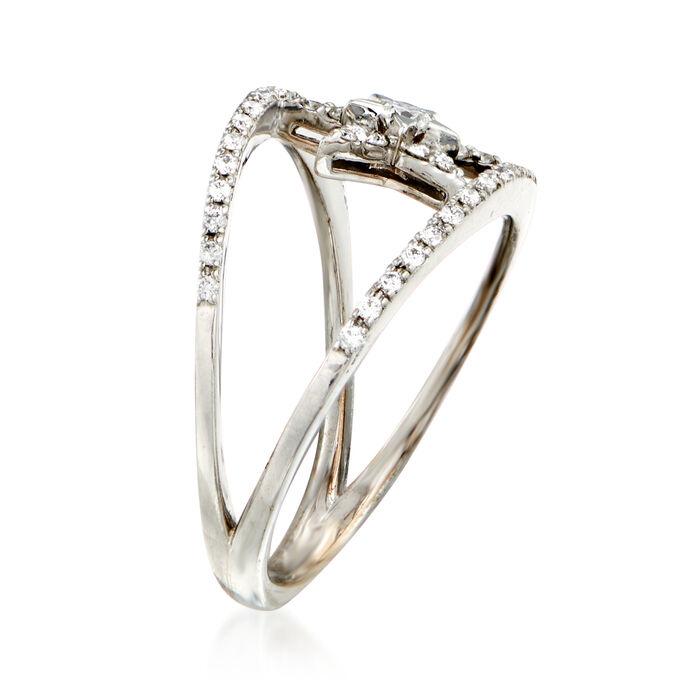 C. 1990 Vintage .31 ct. t.w. Diamond Star Ring in 18kt White Gold