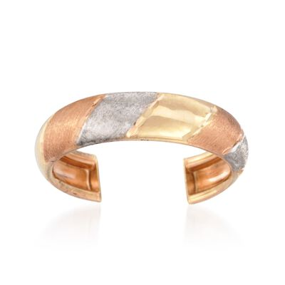 14kt Tri-Colored Gold Striped Toe Ring , , default