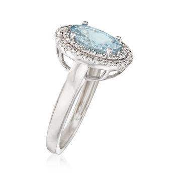 2.40 Carat Aquamarine and .27 ct. t.w. Diamond Ring in 14kt White Gold, , default