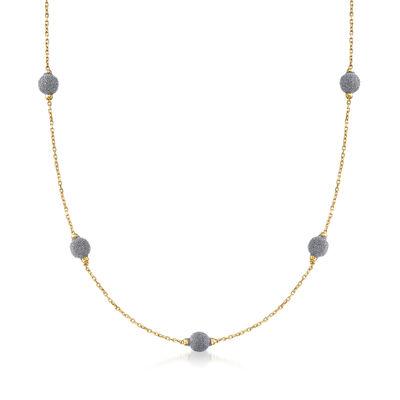 Italian Diamond Stardust Bead Station Necklace in 18kt Yellow Gold, , default