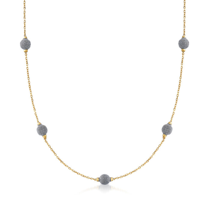 "Italian Diamond Stardust Bead Station Necklace in 18kt Yellow Gold. 18.5"", , default"