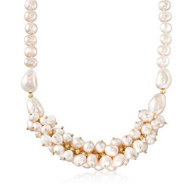 Cultured Pearl Cluster Necklace in 18kt Gold Over Sterling, , default
