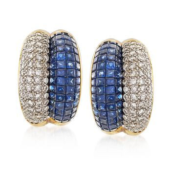 C. 1990 Vintage 5.60 ct. t.w. Sapphire and 1.65 ct. t.w. Diamond Earrings in 18kt Yellow Gold, , default