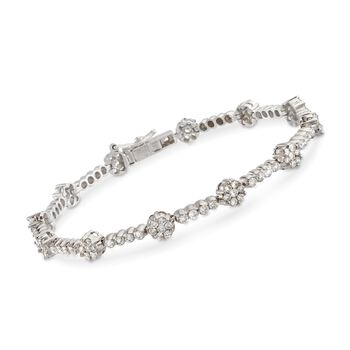 "C. 1990 Vintage 3.50 ct. t.w. Diamond Floral Bar Bracelet in 14kt White Gold. 7.25"", , default"
