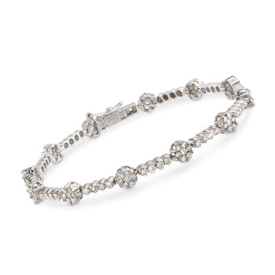 C. 1990 Vintage 3.50 ct. t.w. Diamond Floral Bar Bracelet in 14kt White Gold, , default