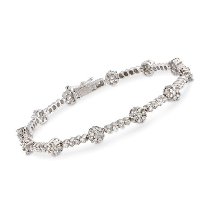 "C. 1990 Vintage 3.50 ct. t.w. Diamond Floral Bar Bracelet in 14kt White Gold. 7.25"", , default"