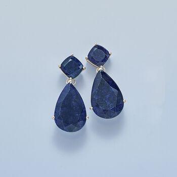 26.50 ct. t.w. Sapphire Drop Earrings in Sterling Silver, , default