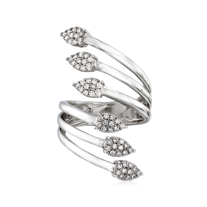 .56 ct. t.w. Diamond Arrow Bypass Ring in 14kt White Gold