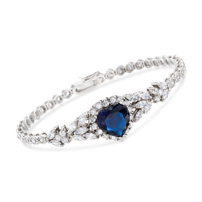 Heart-Shaped Simulated Sapphire and 6.90 ct. t.w. CZ Heart Bracelet in Sterling Silver, , default