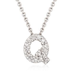 "Roberto Coin ""Tiny Treasures"" Diamond Accent Initial ""Q"" Necklace in 18kt White Gold. 16"", , default"