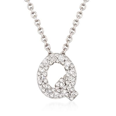 "Roberto Coin ""Tiny Treasures"" Diamond Accent Initial ""Q"" Necklace in 18kt White Gold, , default"