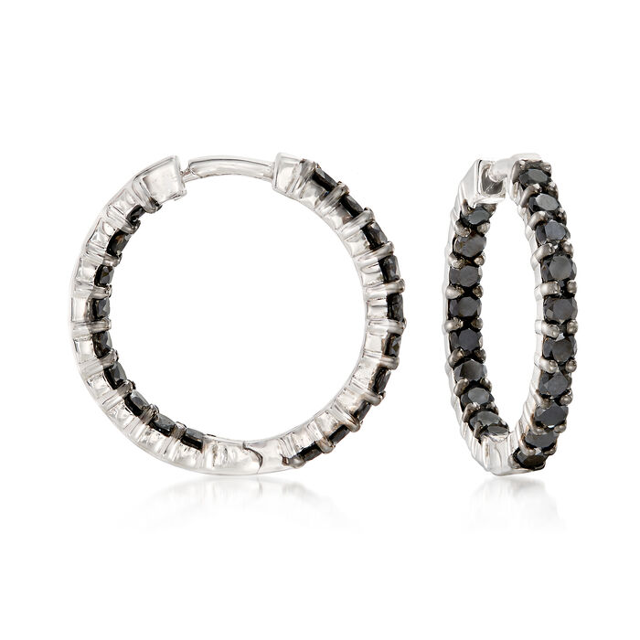 "2.00 ct. t.w. Black Diamond Inside-Outside Hoop Earrings in Sterling Silver. 3/4"", , default"