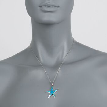 """Blue Synthetic Opal Starfish Pendant Necklace in Sterling Silver. 18"""", , default"""