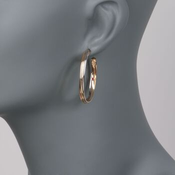 """Roberto Coin 18kt Tri-Colored Gold Oval Hoop Earrings. 1 1/2"""", , default"""