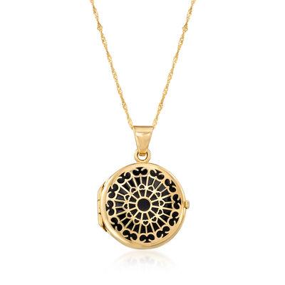 Italian Black Enamel Rose Window Locket Pendant Necklace in 14kt Yellow Gold, , default