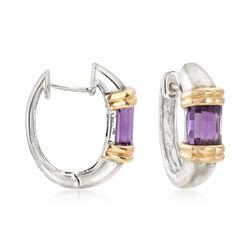 C. 1990 Vintage 2.00 ct. t.w. Amethyst Hoop Earrings in 14kt Two-Tone Gold , , default