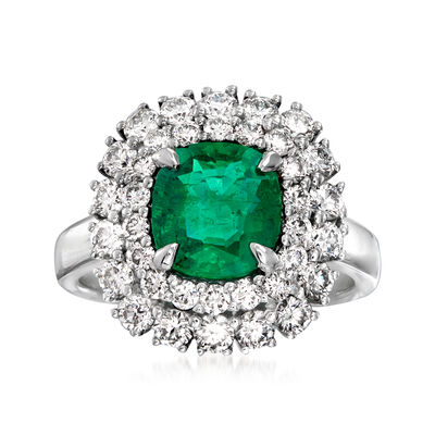 2.10 Carat Emerald and 1.55 ct. t.w. Diamond Ring in 18kt White Gold