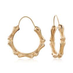 "C. Vintage 14kt Yellow Gold Bamboo Hoop Earrings. 7/8"", , default"