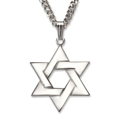 Star of David Necklace Pendant in Sterling Silver, , default