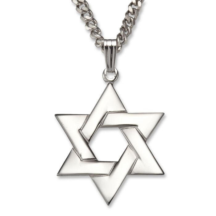 """Star of David Necklace Pendant in Sterling Silver. 24"""", , default"""