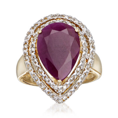 6.50 Carat Indian Ruby and .32 ct. t.w. Diamond Ring in 14kt Yellow Gold, , default