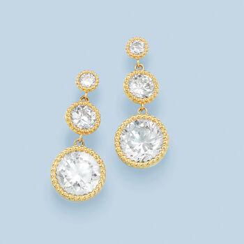 4.94 ct. t.w. CZ Linear Drop Earrings in 14kt Yellow Gold