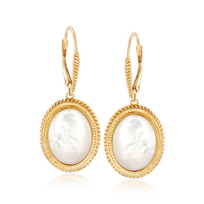 21.4x4.7mm Mother-Of-Pearl Drop Earrings in 18kt Yellow Gold Over Sterling Silver, , default