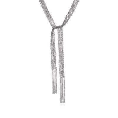 Italian Sterling Silver Mesh Tie Necklace, , default