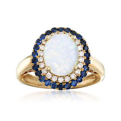 Opal and .50 ct. t.w. Sapphire Ring With .22 ct. t.w. Diamonds in 14kt Yellow Gold, , default