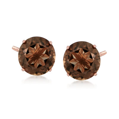 4.80 ct. t.w. Smoky Quartz Stud Earrings in 14kt Rose Gold