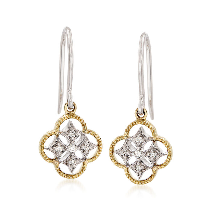 Simon G. 18kt Two-Tone Gold Openwork Clover Drop Earrings with Diamond Accents