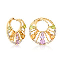 "4.80 ct. t.w. Multi-Stone Front-Facing Hoop Earrings in 18kt Gold Over Sterling. 1"", , default"